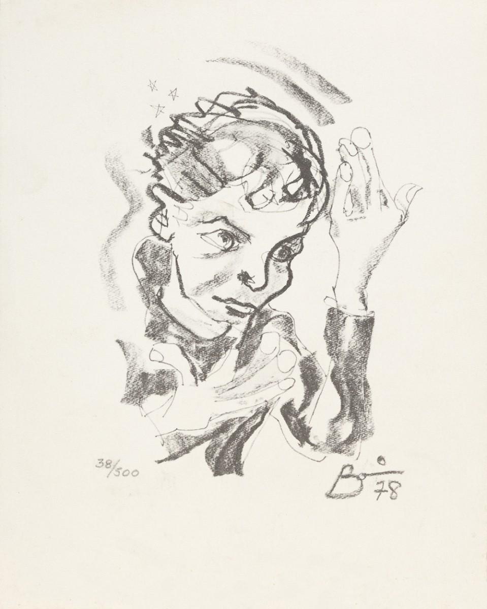 Druck eines Selbstportraits von David Bowie, 1978