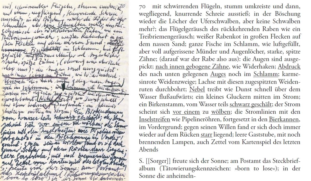 Peter Handke: Faksimile-Transkript Notizbuch 1978, 70 (Copyright: Insel Verlag)